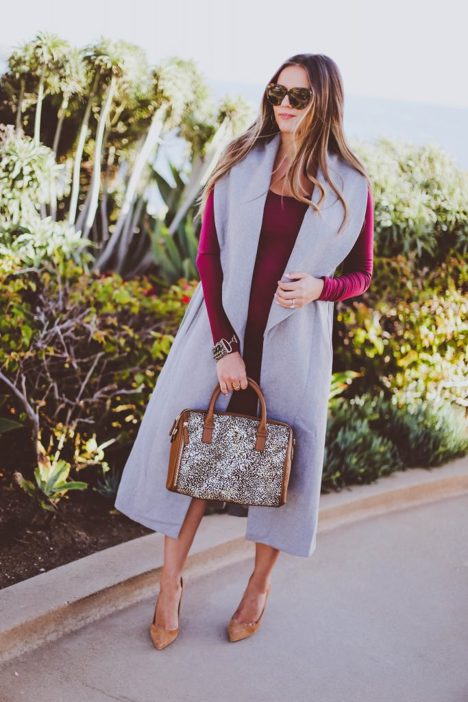 fall maternity style, vera bradley marlo satchel downtown dots, shop buru anne grey sleeveless vest, burgundy bodycon midi dress, manolo bb pumps