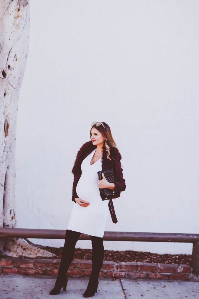 #BumpStyle // Burgundy Suede Moto Jacket & White Dress   BondGirlGlam.com