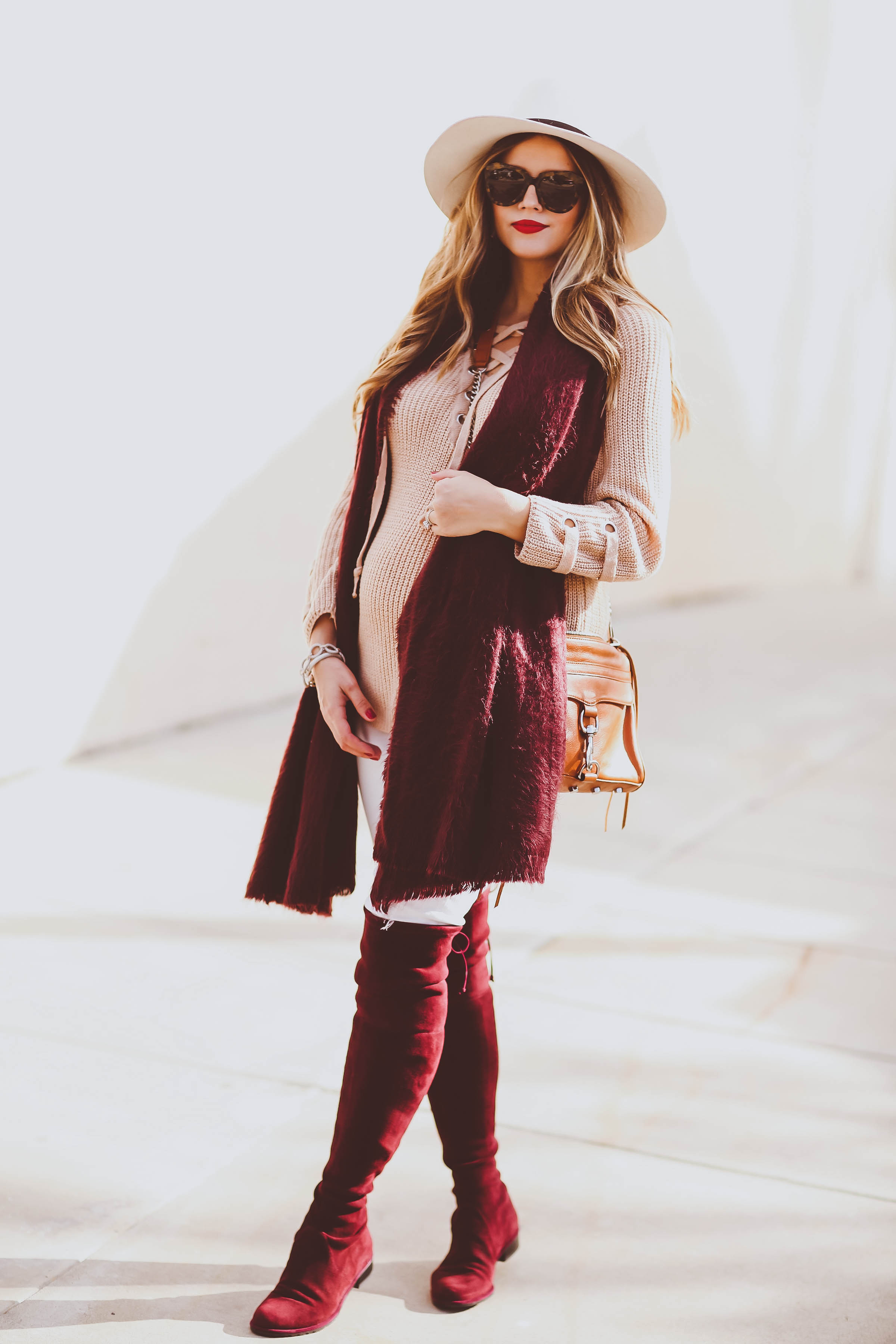Bumpstyle Beige Lace Up Sweater Burgundy Scarf Amp Otk