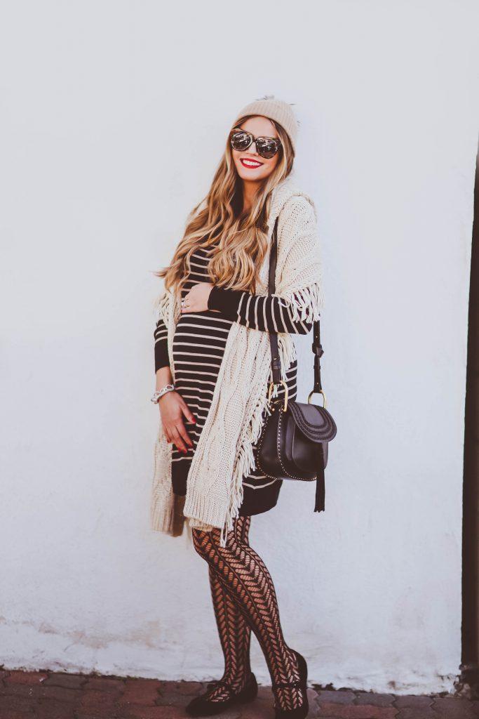 #BumpStyle // Striped Sweater Dress & Phillip Gavriel Jewelry | BondGirlGlam.com