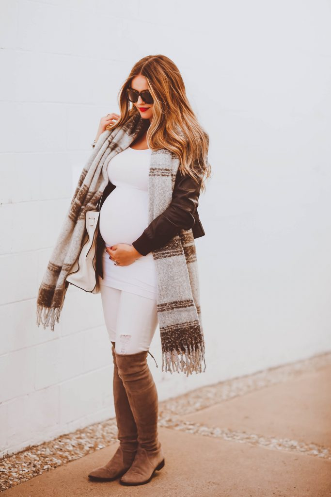 #BumpStyle // Brown Leather Jacket, Grey Plaid Scarf & OTK Boots | BondGirlGlam.com