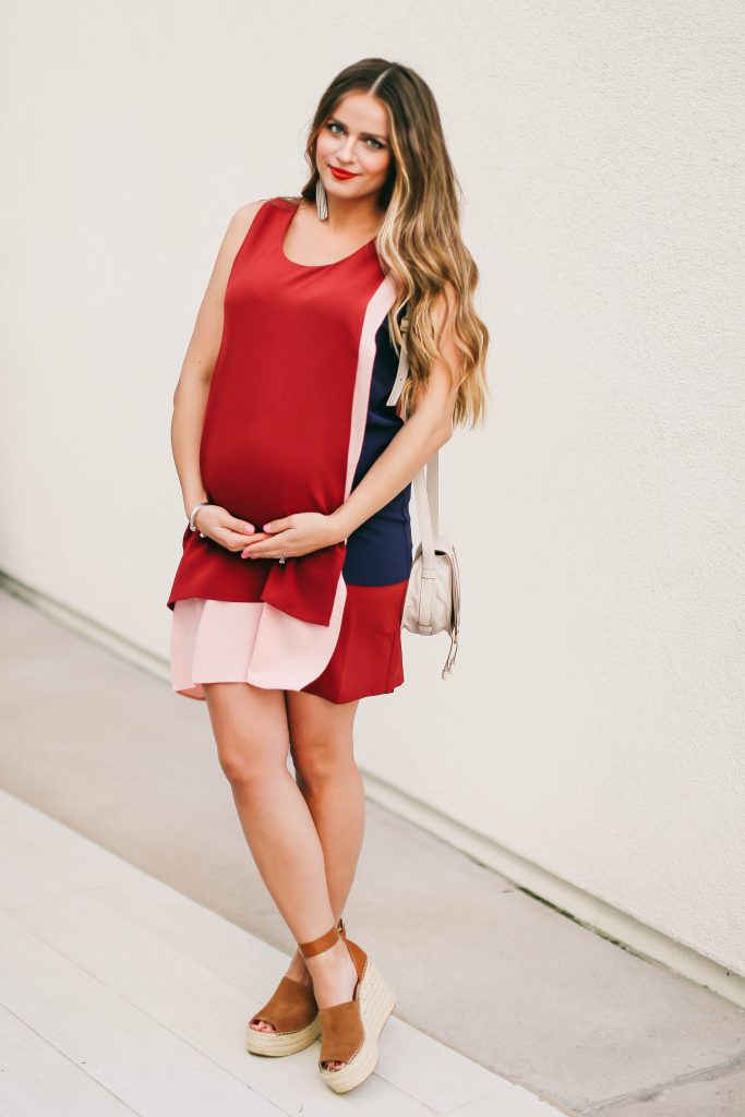 #BumpStyle // Red Blush & Navy Shift Dress & The Comfiest Wedges | BondGirlGlam.com