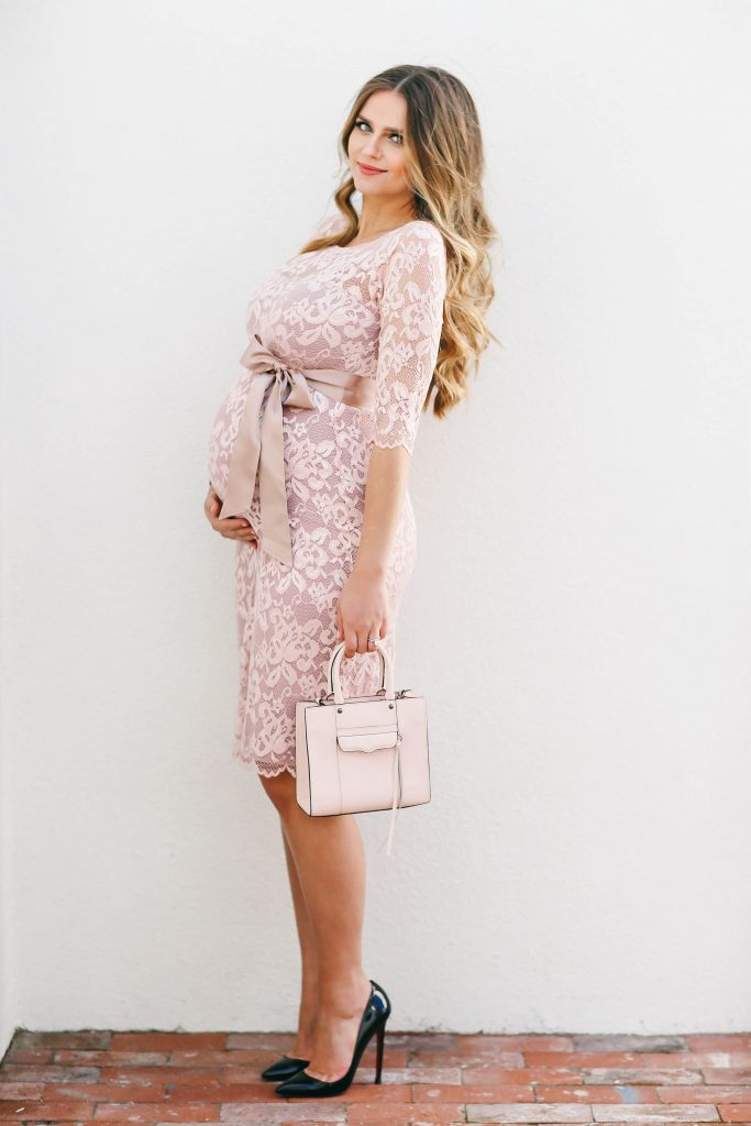 #BumpStyle // Blush Pink Lace Maternity Dress | BondGirlGlam.com