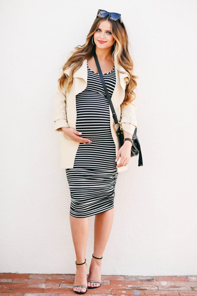 #BumpStyle // Spring Trench Coat & Striped Maternity Dress | BondGirlGlam.com