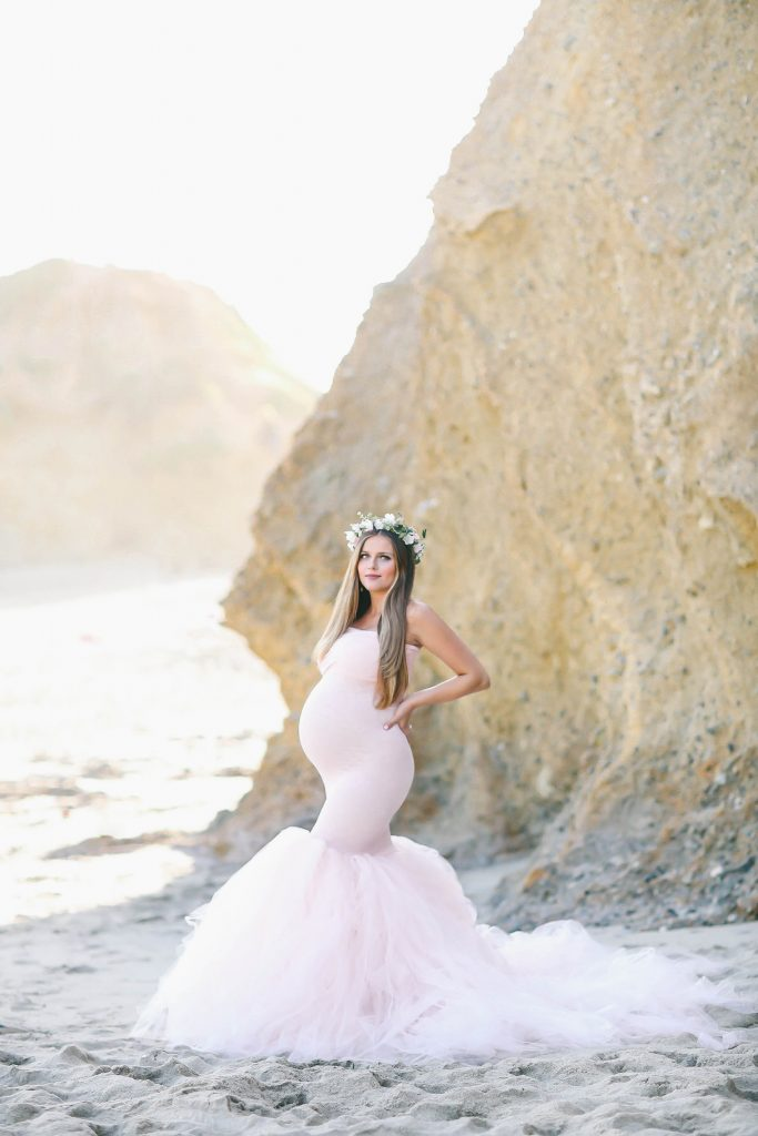 BumpStyle // Mermaid Style Tulle Maternity Gown on the Beach ...