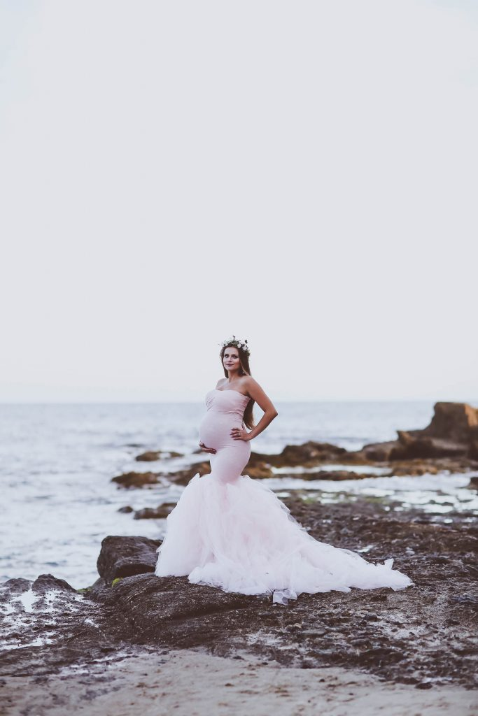 55ae3893ad8 BumpStyle    Mermaid Style Tulle Maternity Gown on the Beach ...