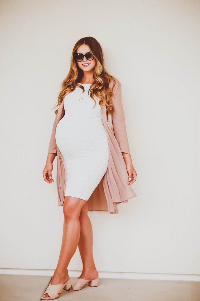 #BumpStyle // Pink Pleated Duster Coat & White Lace Maternity Dress | BondGirlGlam.com
