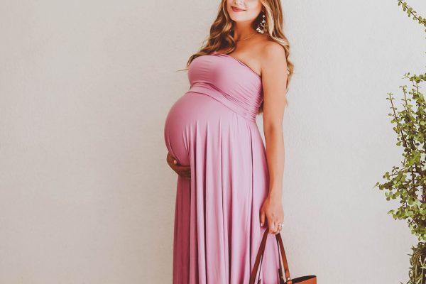#BumpStyle // Violet Strapless Jersey Dress & The Perfect Tote   BondGirlGlam.com
