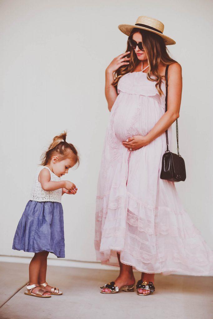 #BumpStyle // Pink Halter Neck Lace & Ruffles Maxi Dress | BondGirlGlam.com