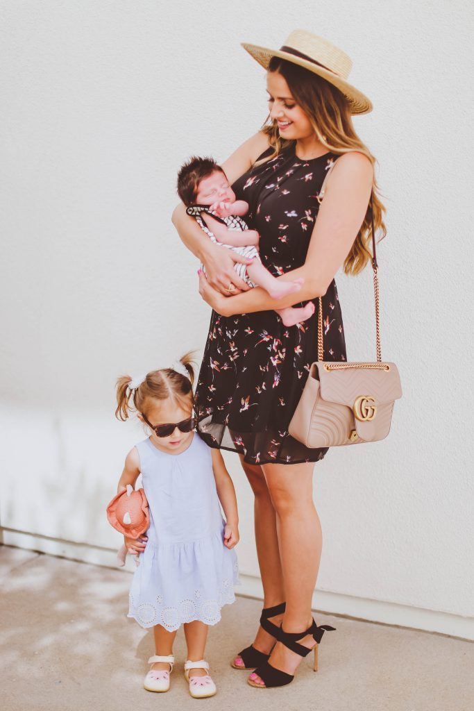 #OOTD // Bird Print Nursing-Friendly Dress & Comfy Suede Wrap Heels | BondGirlGlam.com