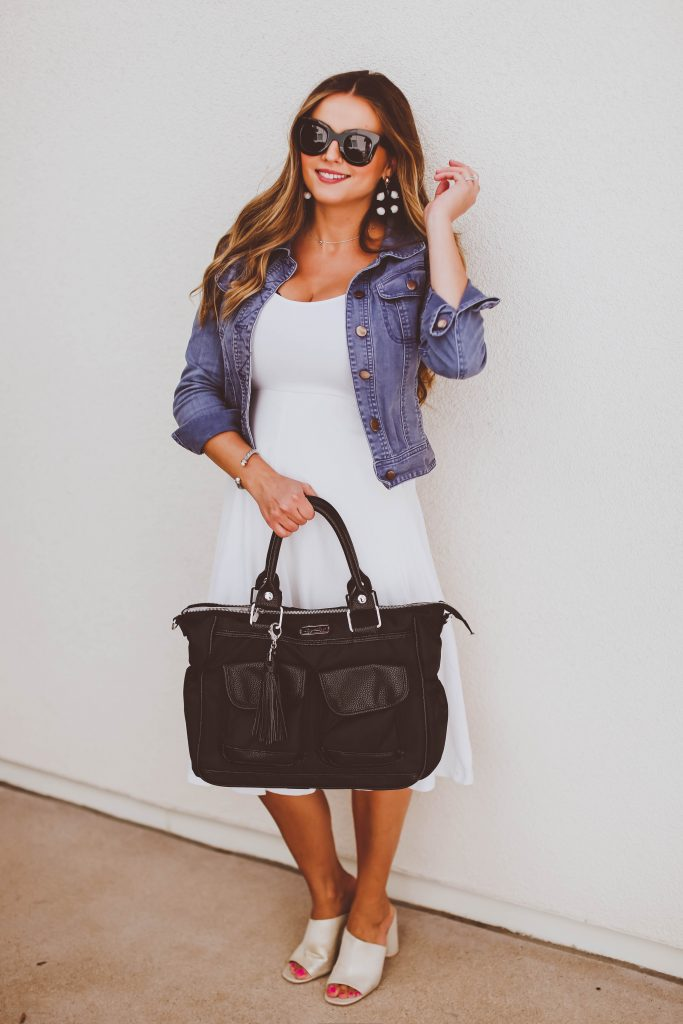 #OOTD // Jean Jacket & White Midi Dress | BondGirlGlam.com