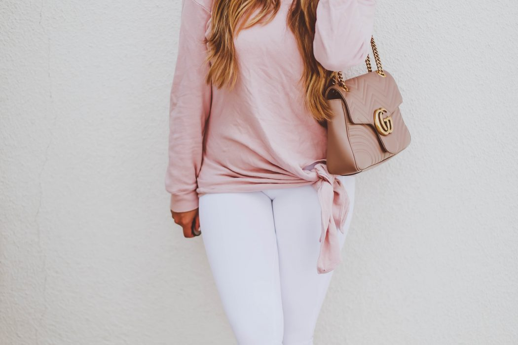 #OOTD // Blush Pink Tie Detail Sweatshirt & White Leggings | BondGirlGlam.com