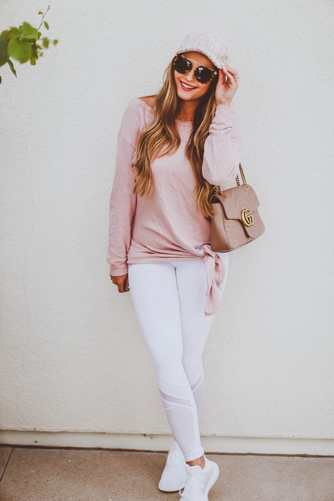Ootd Blush Pink Tie Detail Sweatshirt Amp White Leggings