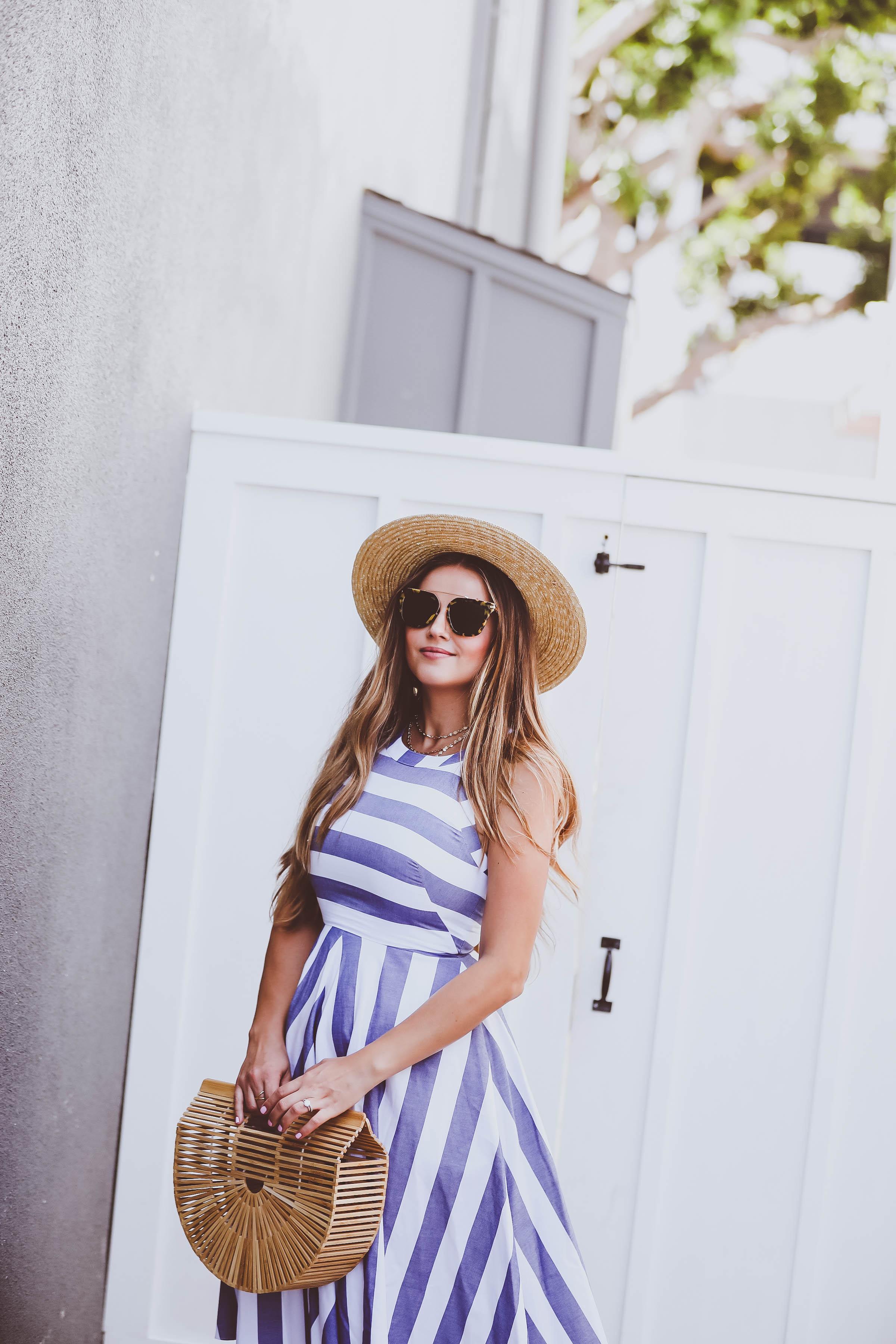 Ootd Blue Amp White Striped Halter Dress Amp Bamboo Clutch
