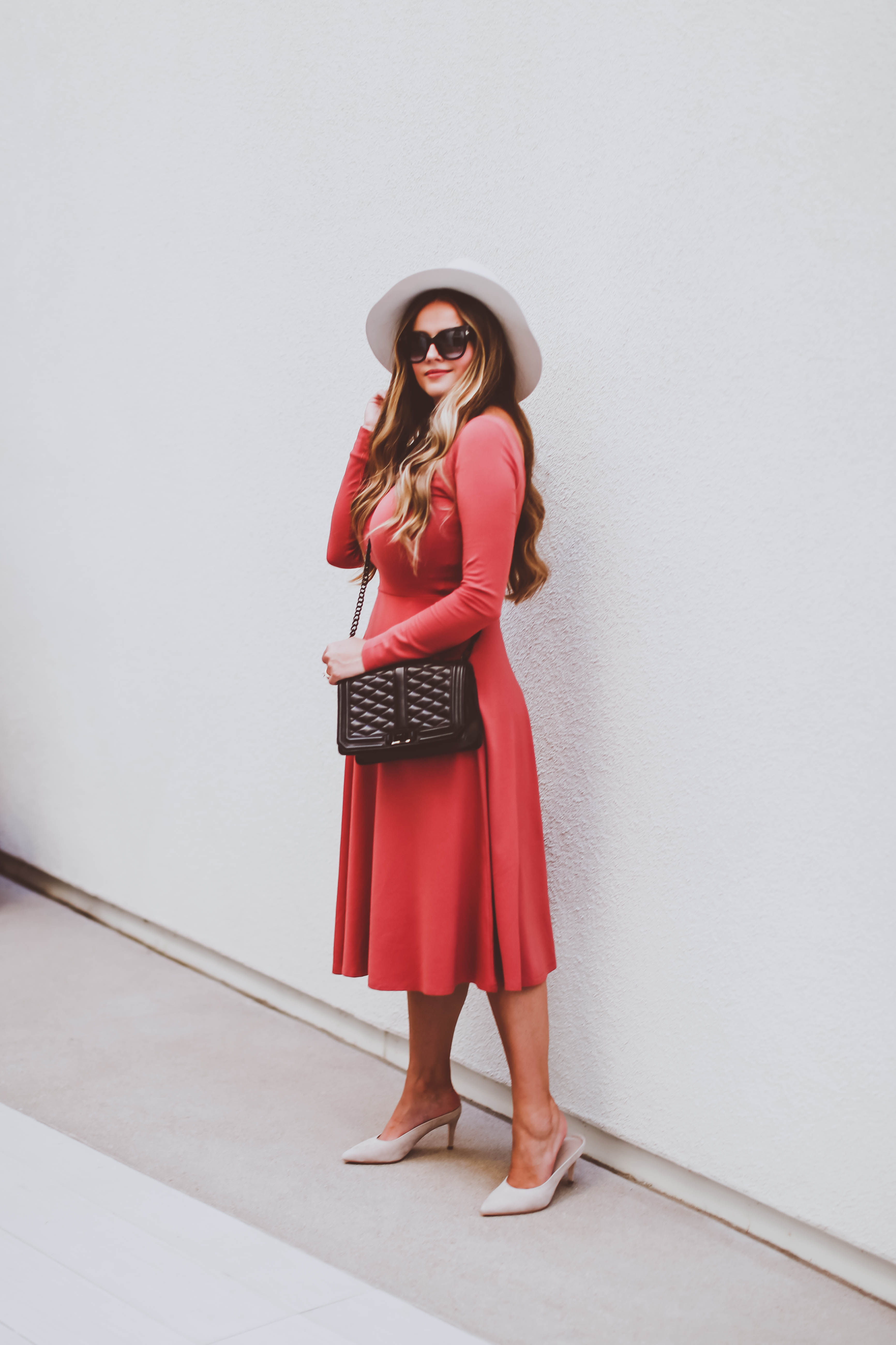 #OOTD // Rust Long-Sleeve Midi Dress & Mule Pumps | BondGirlGlam.com