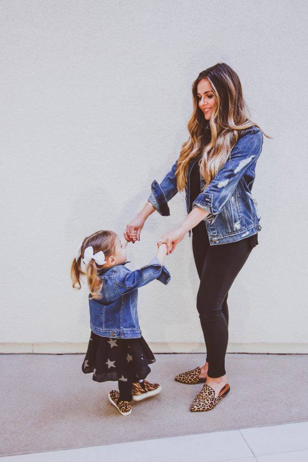 matching mommy-and-me outfit, dl1961 dahlia ripped denim jacket, dl1961 manning jacket, cute mom fashion, toddler girl fashion, black pants, leopard mules