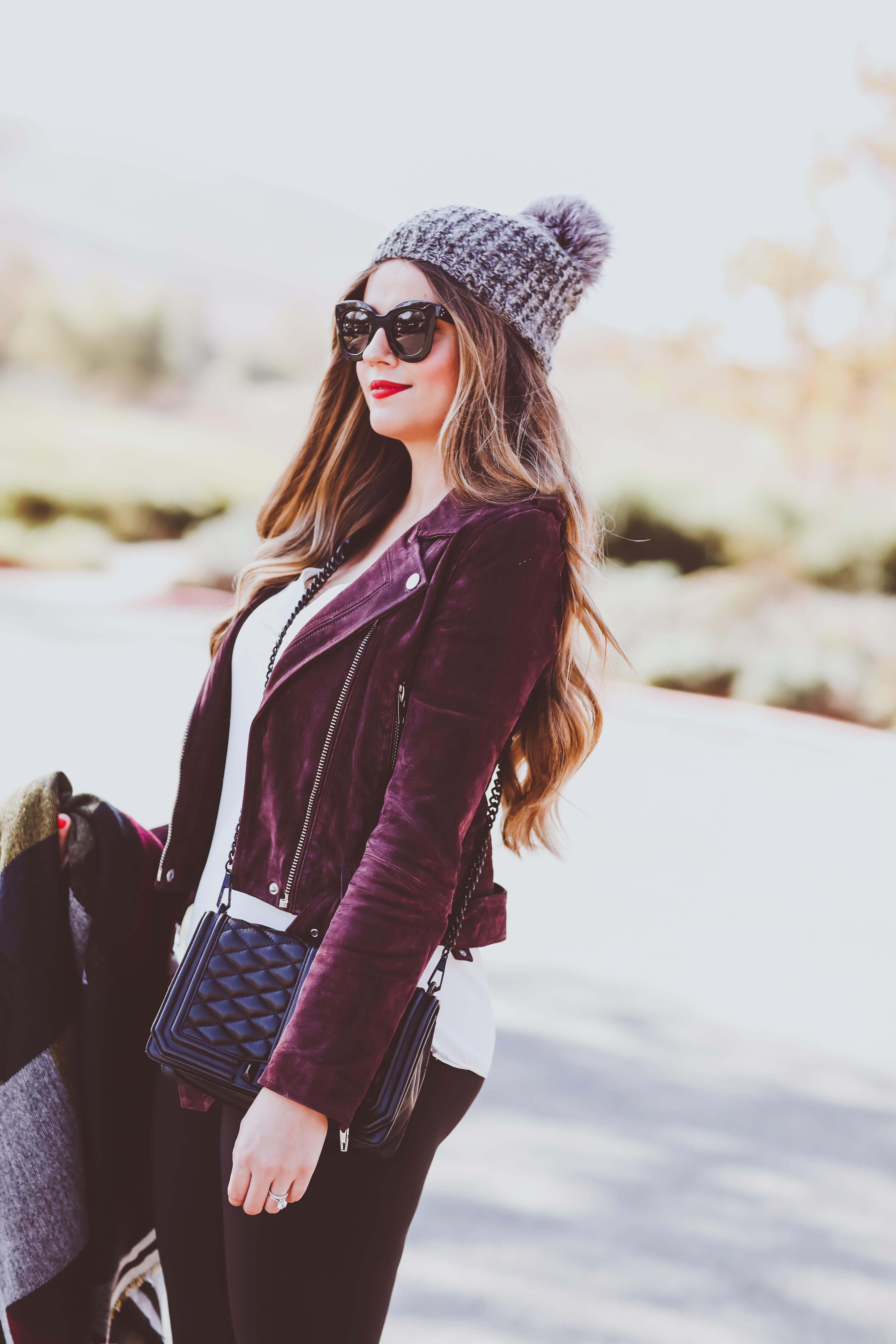 blanknyc burgundy suede moto jacket, grey fur pom beanie, bp blanket scarf, rebecca minkoff love crossbody bag, belly bandit mother tucker leggings, stuart weitzman black suede highland otk boots, winter outfit, winter fashion
