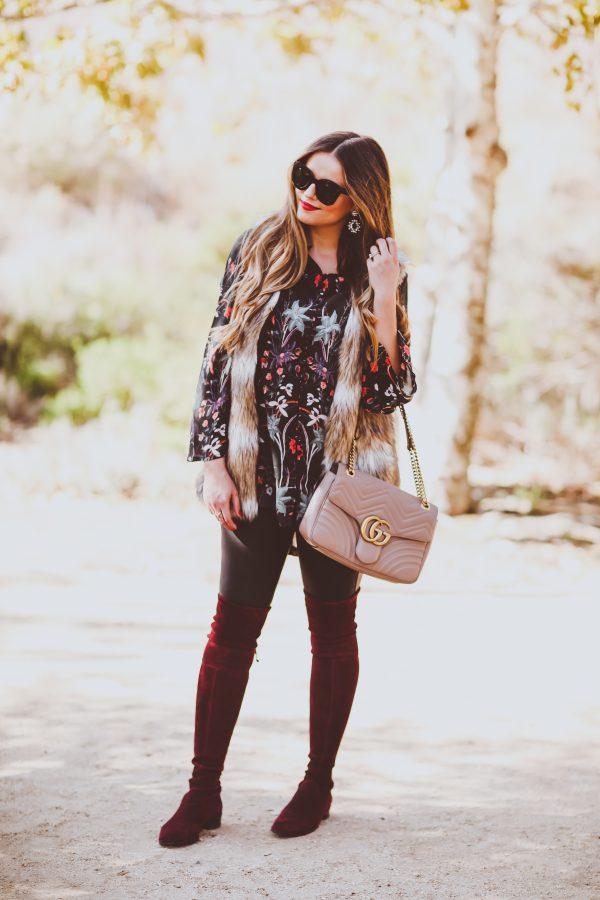 #OOTD // Faux Fur Vest, Silk Floral Tunic & Burgundy OTK Boots | BondGirlGlam.com