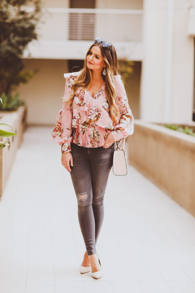 Ootd Pink Floral Ruffle Top Amp Grey Skinny Jeans