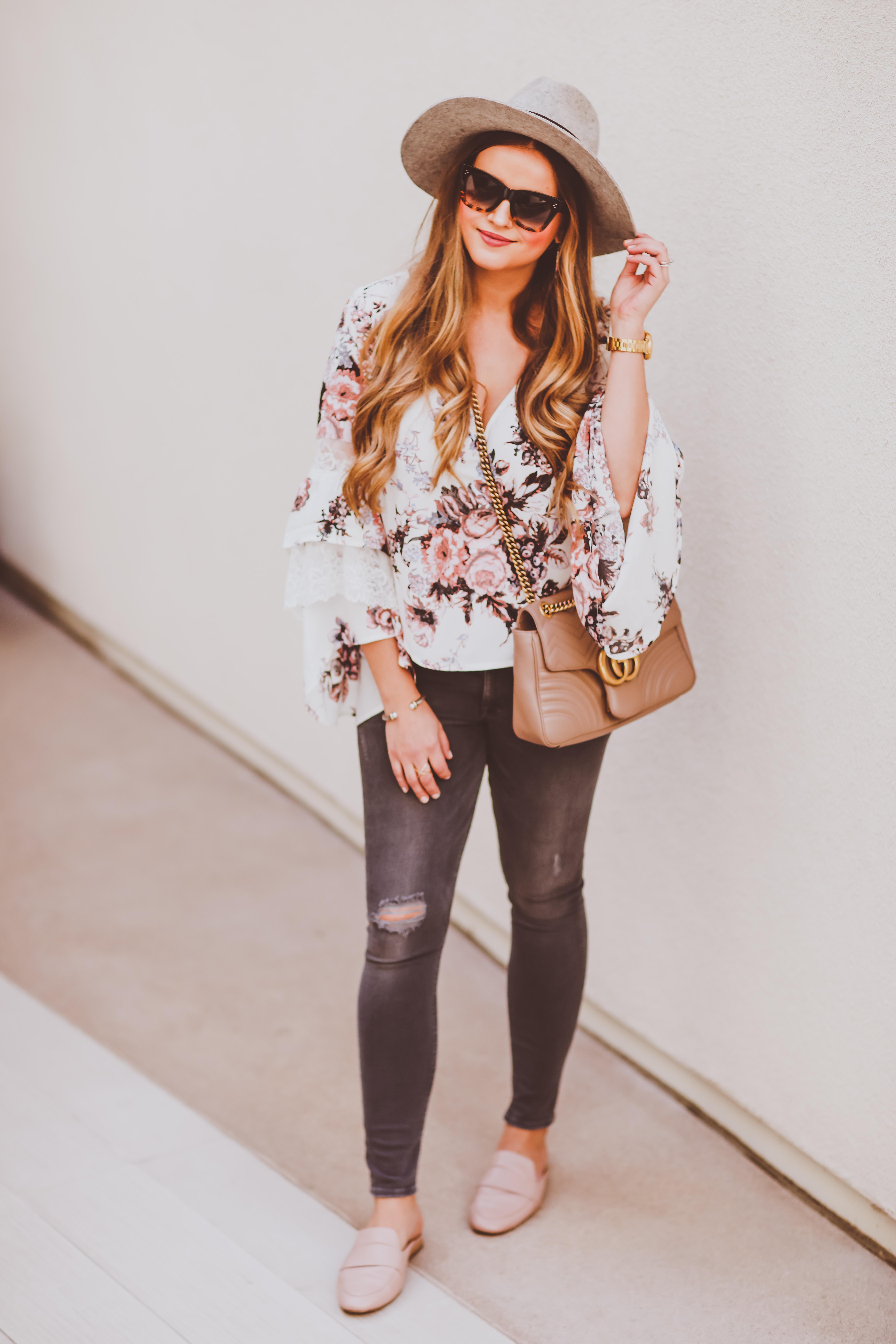 #OOTD // Floral Ruffle Bell Sleeve Blouse, Grey Skinnies & Blush Loafer Flats | BondGirlGlam.com