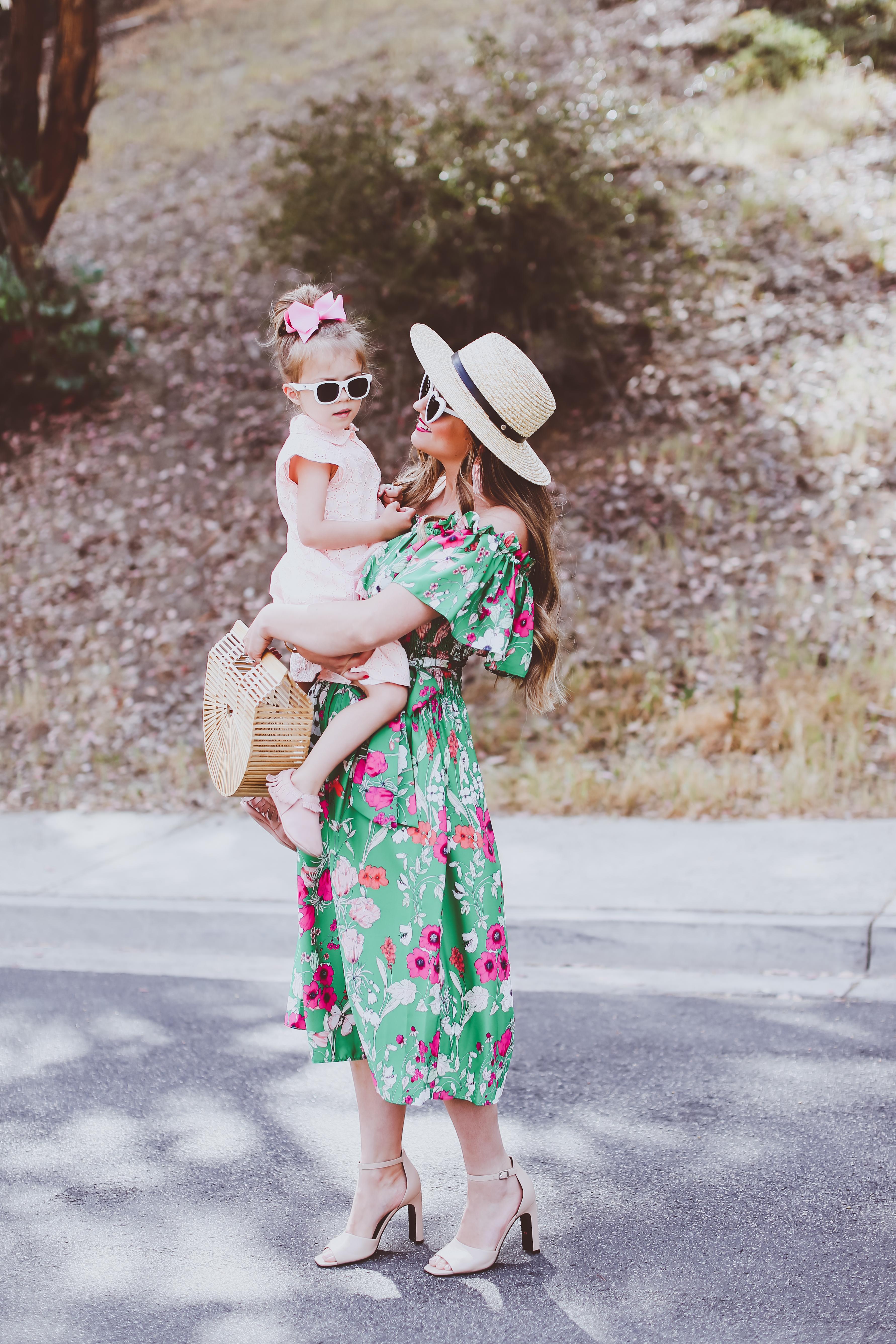 Mommy & Me #OOTD // Green & Pink Spring Dresses | BondGirlGlam.com