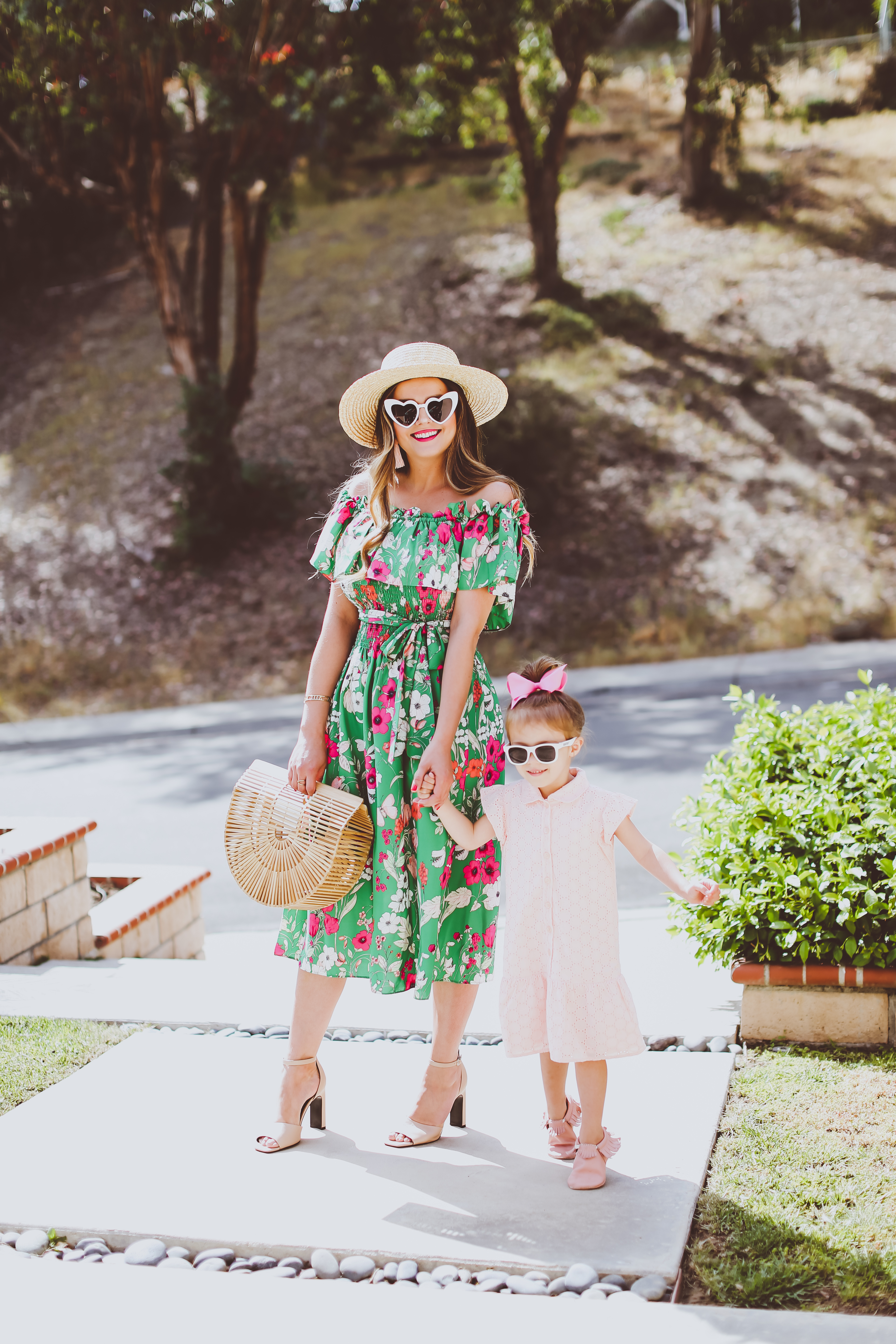 Mommy Amp Me Ootd Green Amp Pink Spring Dresses