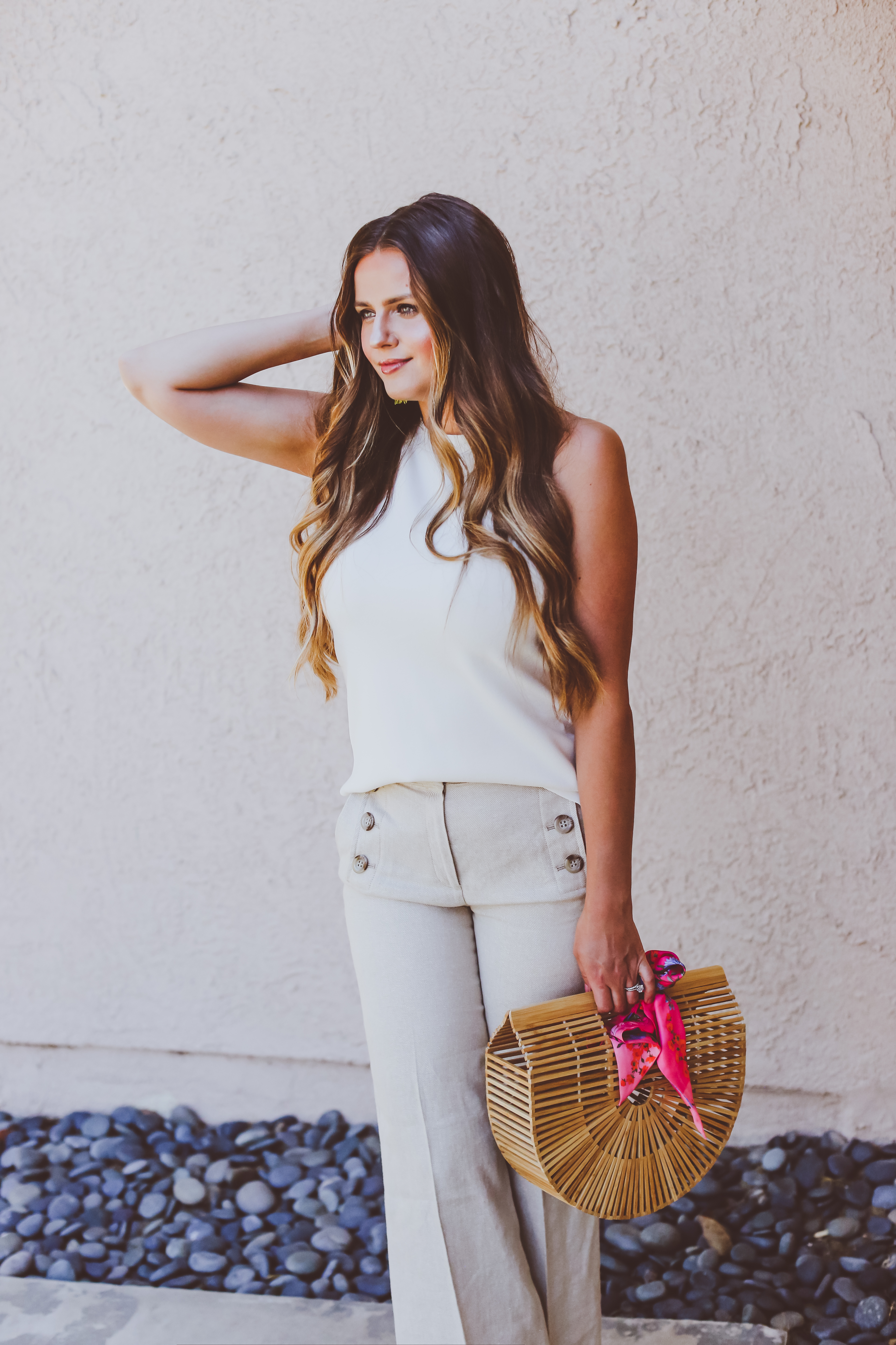#OOTD // Ivory Sleeveless Knit Top & Linen Sailor Pants | BondGirlGlam.com